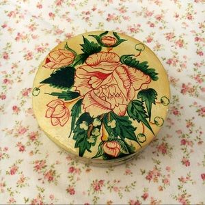 Vintage Floral Small Round Wooden Box